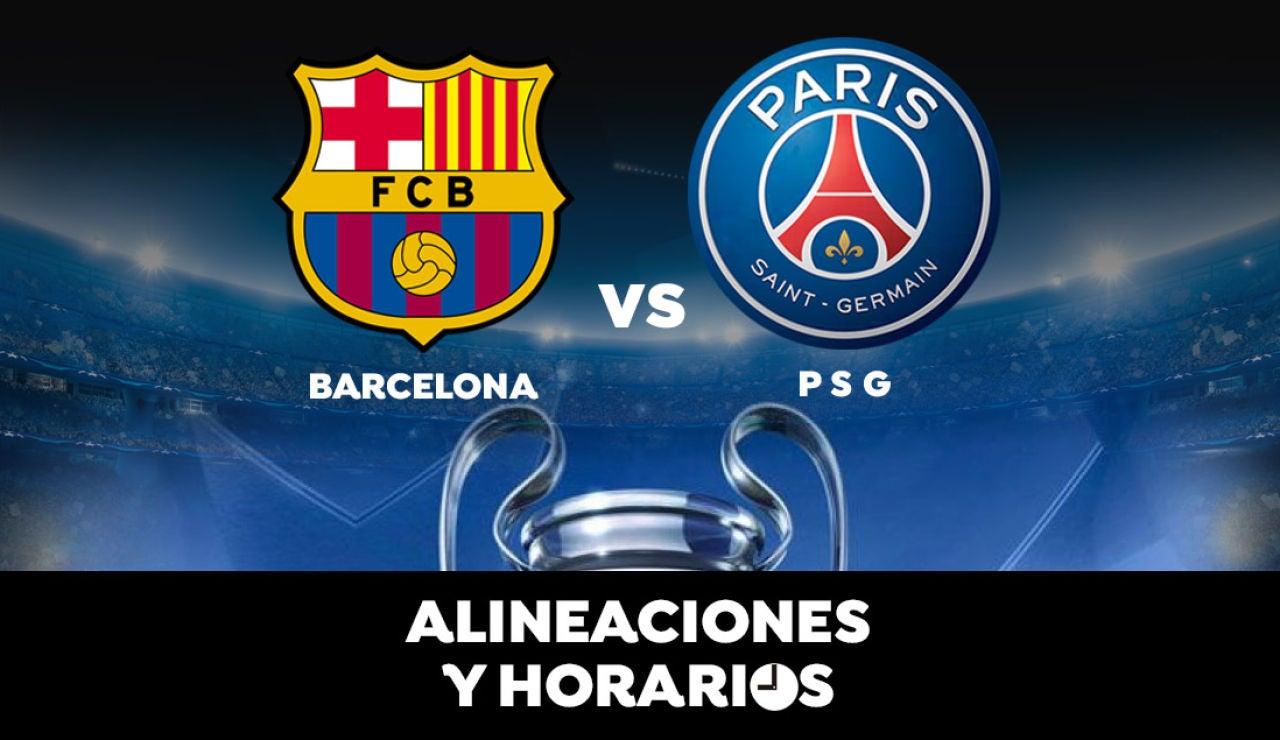 Barcelona - PSG: Horario, alineaciones y dónde ver el partido en directo | Champions League