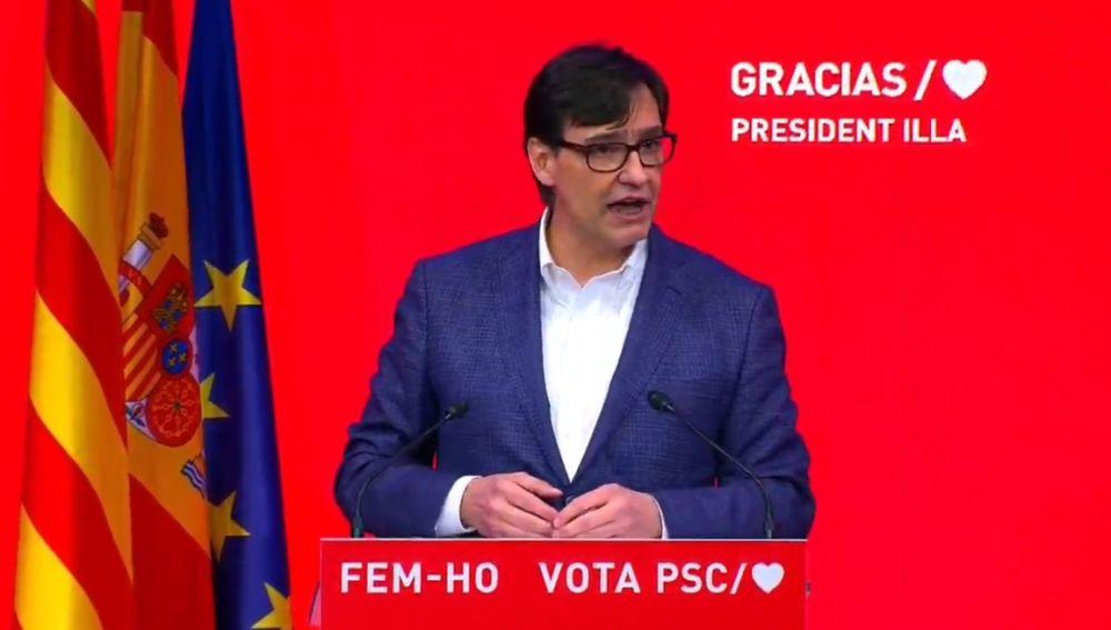 El candidato a la presidencia de la Generalitat por el PSC, Salvador Illa