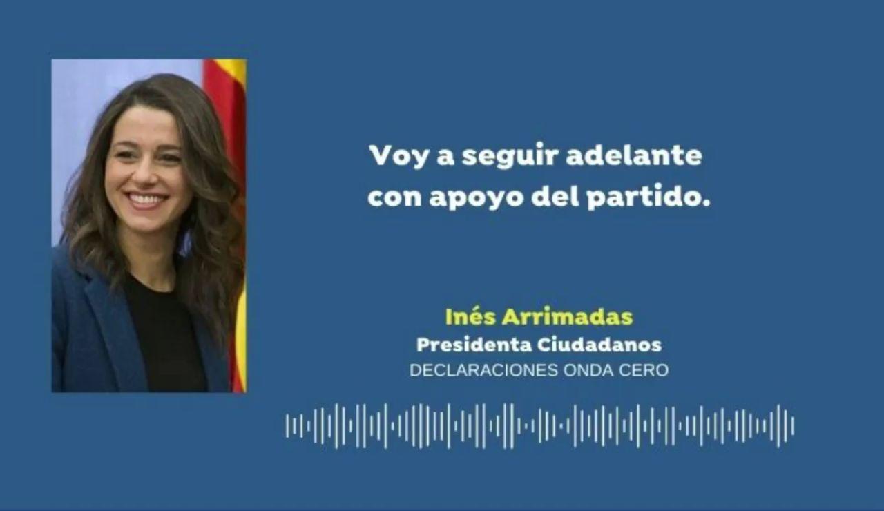"""Inés Arrimadas """"no se plantea dimitir"""" después de conocer la caída de Ciudadanos en las elecciones catalanas"""