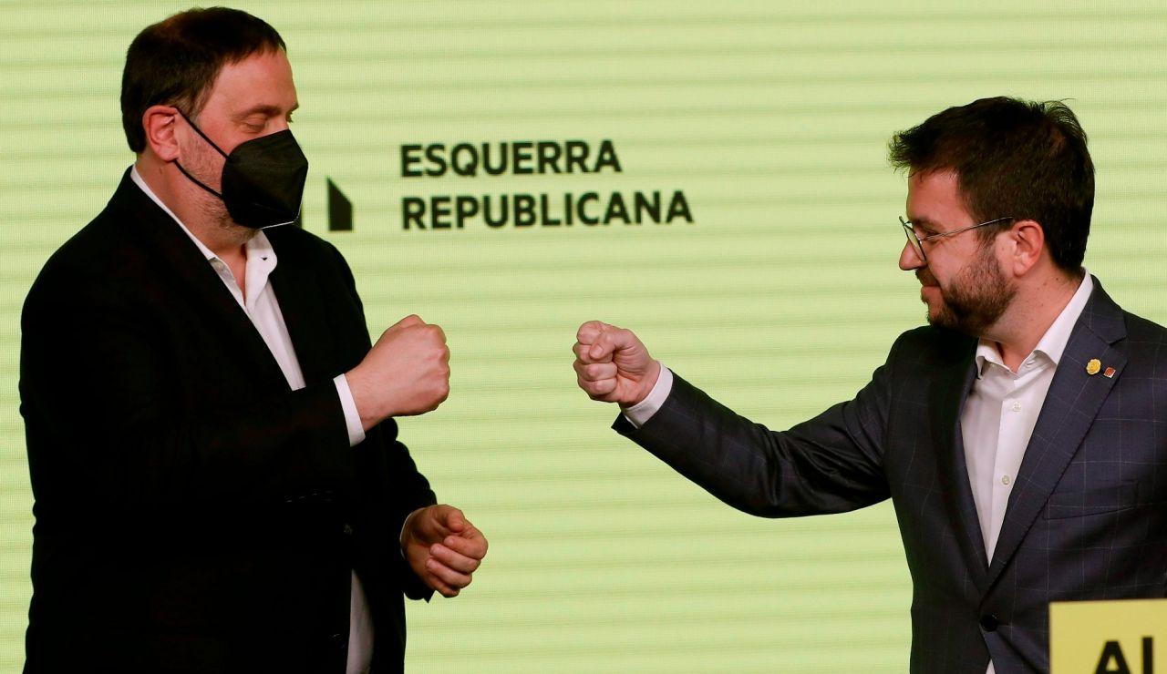Oriol Junqueras y Pere Aragonès, en la noche electoral catalana.