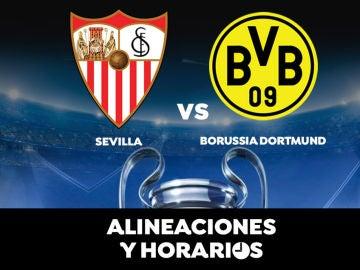 Sevilla - Borussia Dortmund: Horario, alineaciones y dónde ver el partido de Champions League en directo