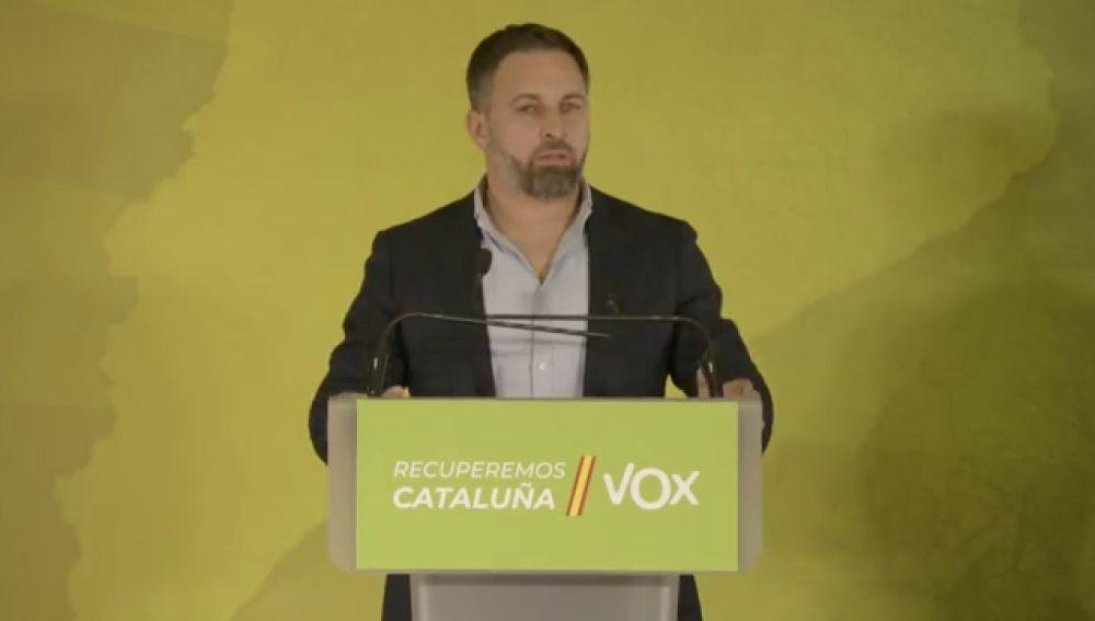 """Santiago Abascal (Vox): """"Estos 11 escaños en las elecciones en Cataluña 2021 son una gesta histórica"""""""