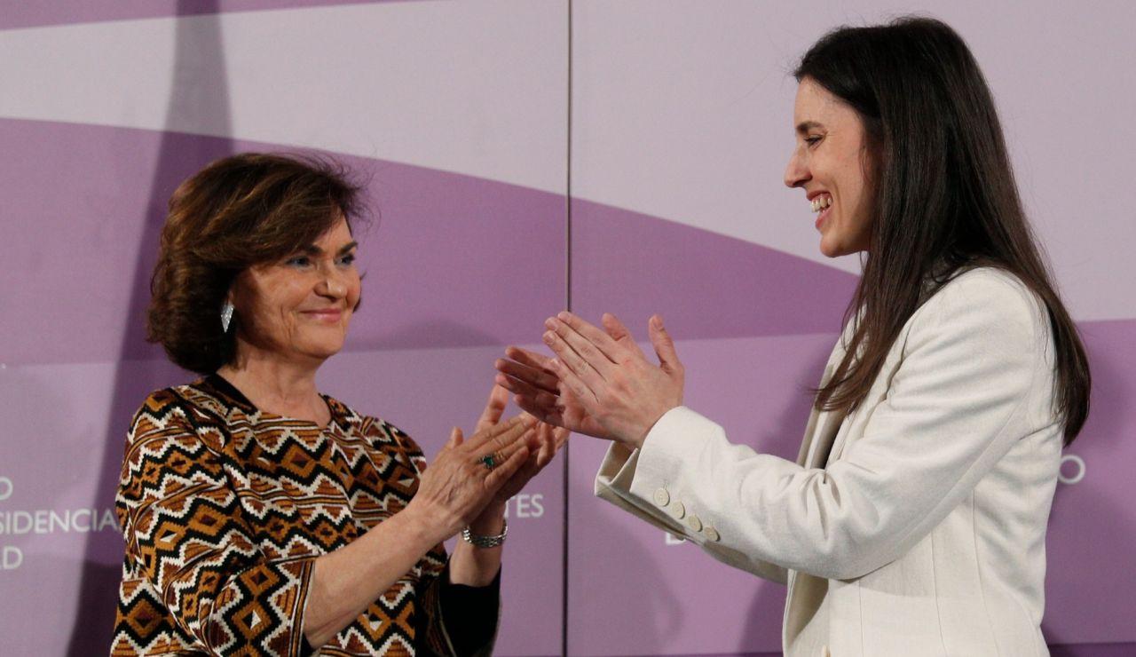 Carmen Calvo e Irene Montero, en un acto el 6 de febrero.