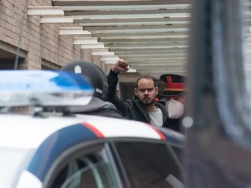 El rapero Pablo Hasél en el momento de su detención