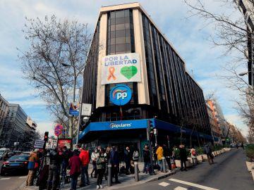 La sede nacional del PP, este martes
