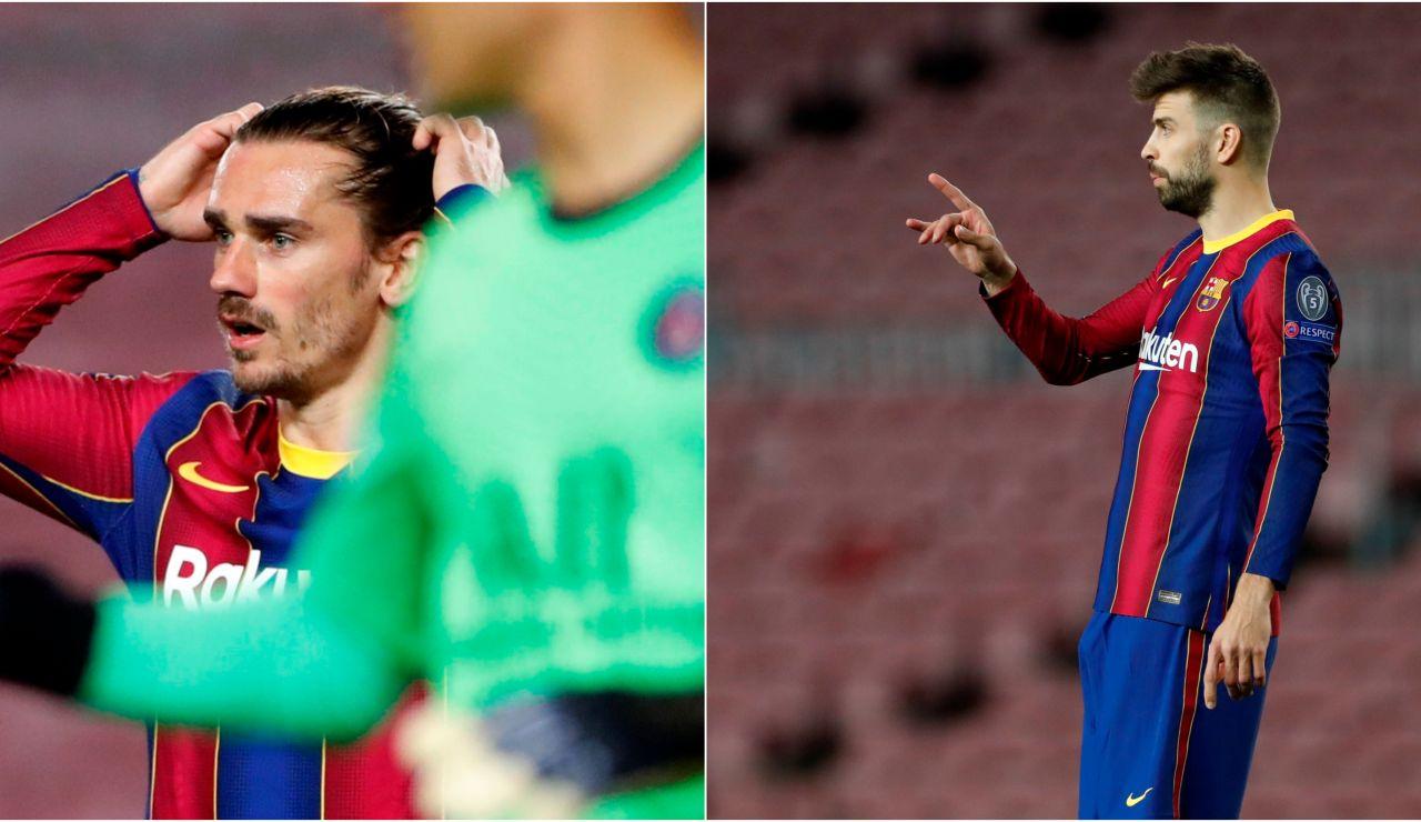 La bronca entre Piqué y Griezmann en plena debacle ante el PSG