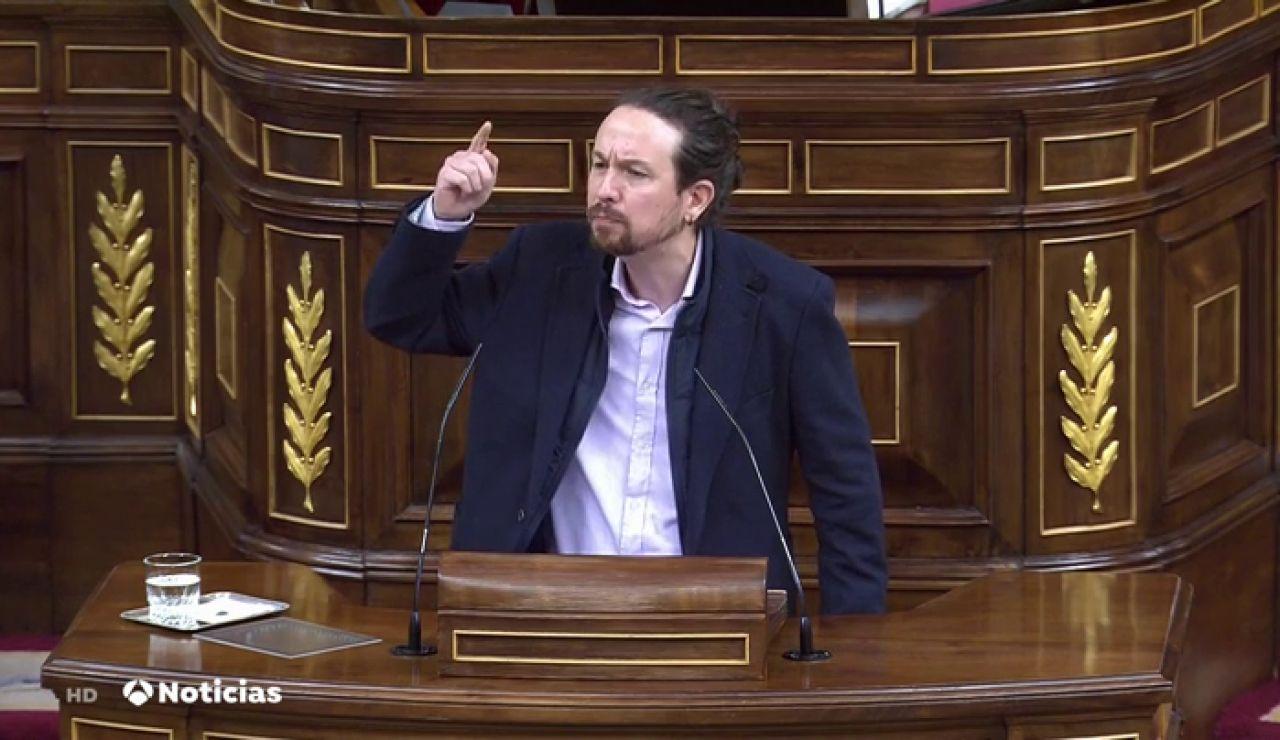 El ataque de Pablo Iglesias a los medios de comunicación desde la tribuna del parlamento