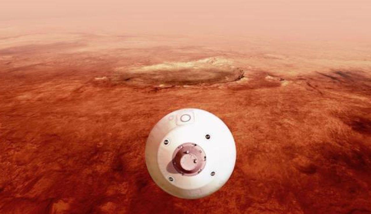 """Ilustración del """"aeroshell"""" que contiene el rover Perseverance"""