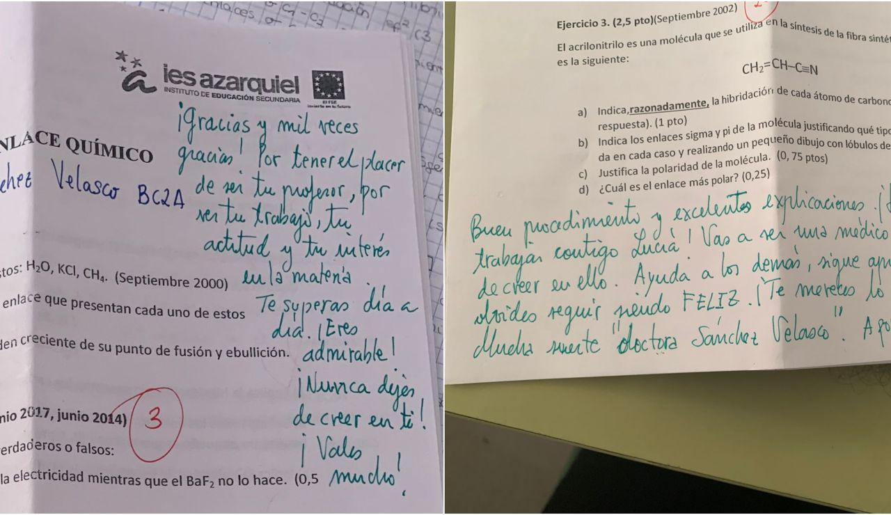 """Las anotaciones de un profesor de un profesor de química a su alumna de 2º de Bachillerato: """"Nunca dejes de creer en ti"""""""