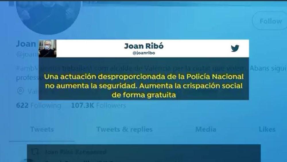 Tuit Joan Ribó sobre la acción de la policía