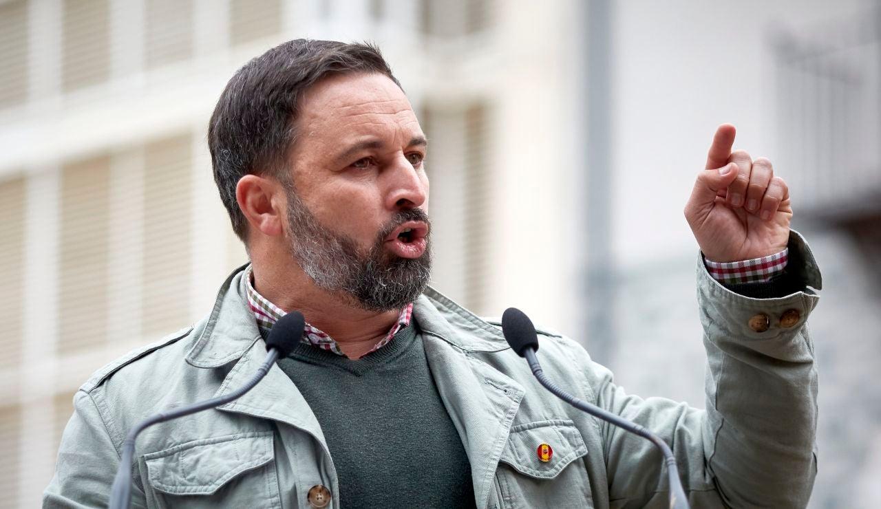 El líder de Vox, Santiago Abascal, durante un acto electoral