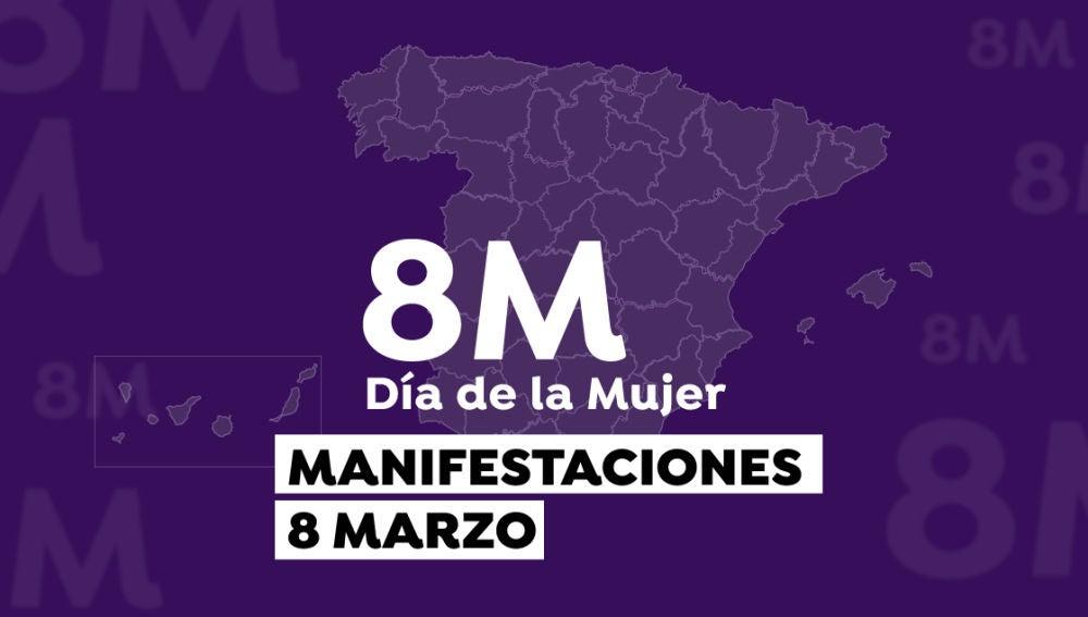 Mapa de las manifestaciones del 8 de marzo.