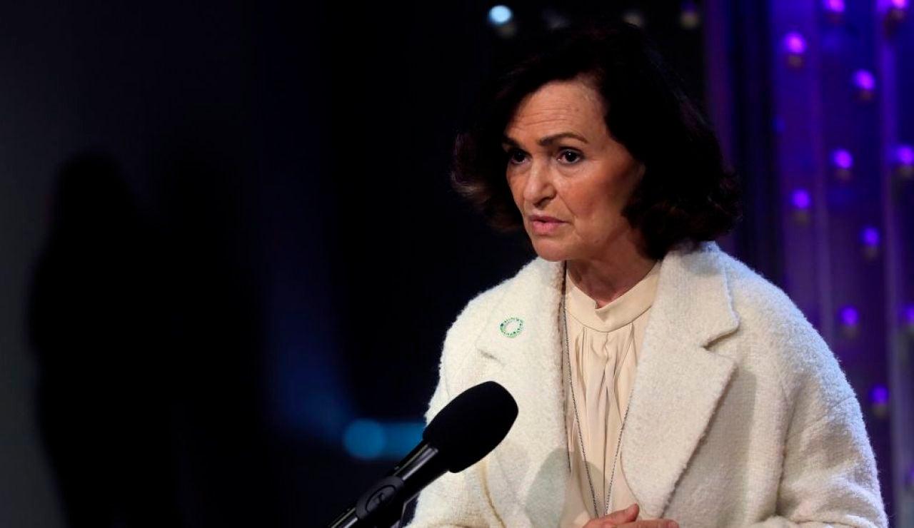 """A3 Noticias Fin de Semana (07-03-21) Carmen Calvo defiende la prohibición de las manifestaciones en Madrid mientras Pedro Sánchez critica a los """"enemigos del feminismo"""""""
