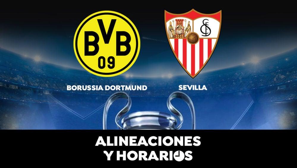 Borussia Dortmund - Sevilla: Horario, alineaciones y dónde ver el partido de la Champions League en directo