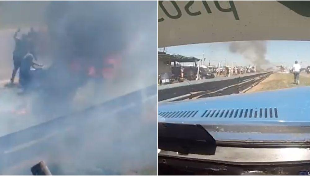 El espeluznante accidente de un piloto en Argentina: permanece varios segundos dentro del coche en llamas