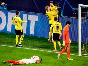 Haaland celebra un gol contra el Sevilla