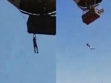 """El impactante momento en que un hombre queda colgado de un globo aerostático en México: """"¡Aguanta!"""""""