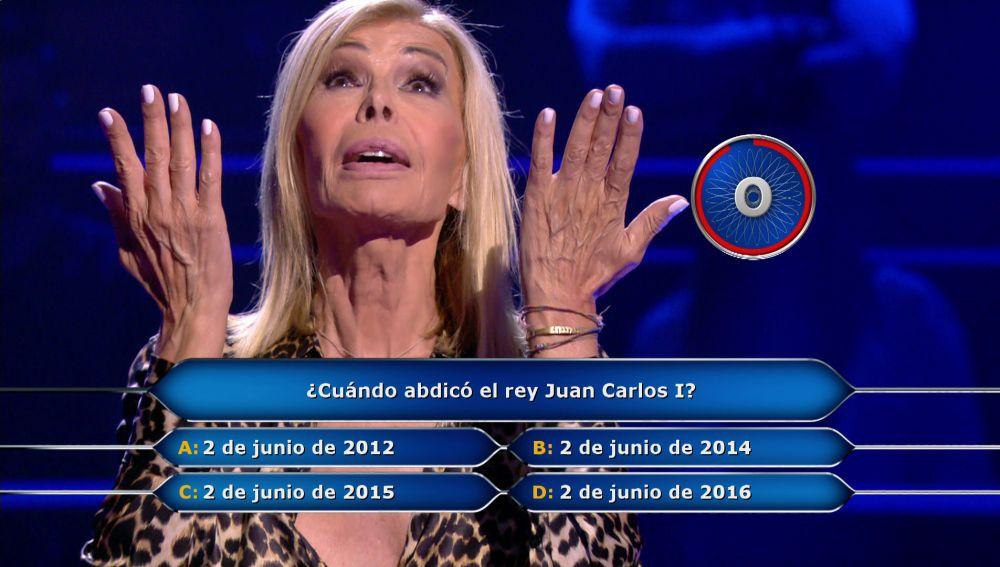 ¡30.000 euros en juego! La abdicación del Rey pone en jaque a Bibiana Fernández en '¿Quién quiere ser millonario?'
