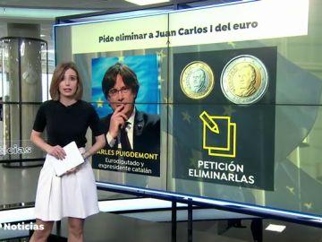 Puigdemont pide a Bruselas retirar los euros que lleven la cara de Juan Carlos I