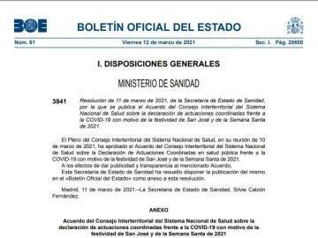 BOE de hoy 12 de marzo sobre las restricciones en Semana Santa y el puente de San José en PDF