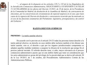 Auto del TSJM sobre las elecciones de Madrid