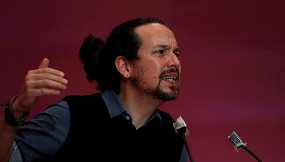 Pablo Iglesias, durante un acto de Unidas Podemos