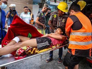 Imagen de uno de los heridos en las manifestaciones de Myanmar