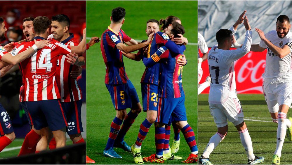 El calendario que les resta a Atlético, Barcelona y Real Madrid en la Liga