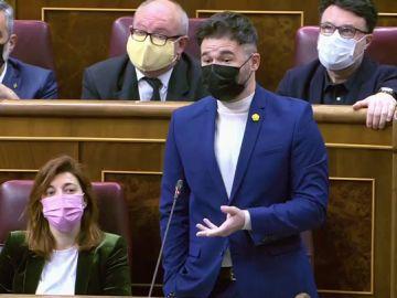 Gabriel Rufián en la sesión de control al Gobierno en el Congreso de los Diputados