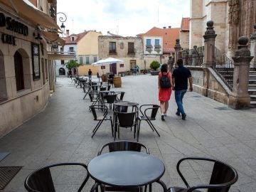 Una terraza de un bar en Aranda del Duero, en Castilla y León