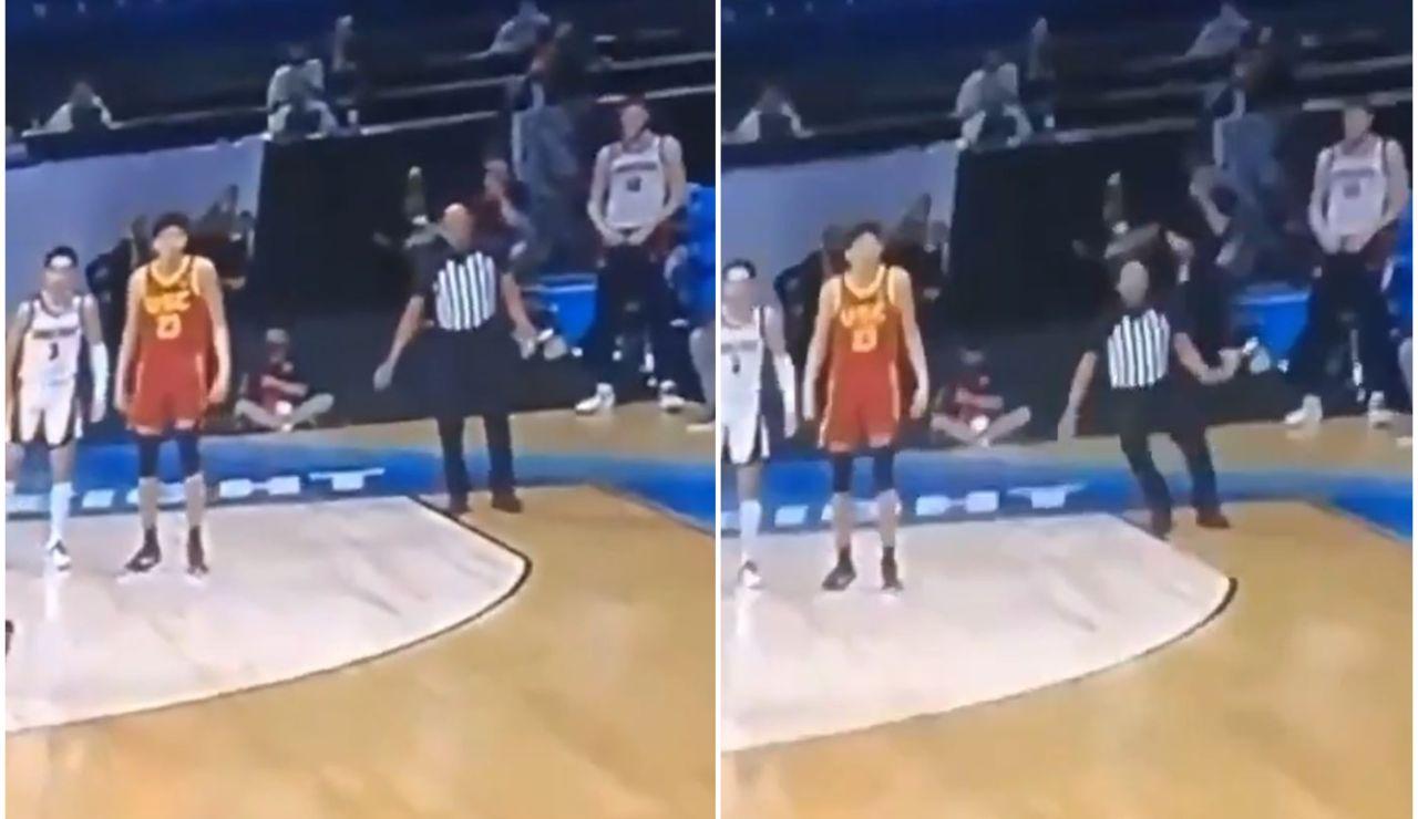Un árbitro de baloncesto cae desplomado al sufrir un colapso en pleno partido de la NCAA