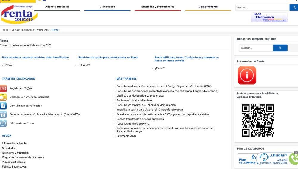 Página principal de la Agencia Tributaria para solicitar el borrador de la declaración de la Renta