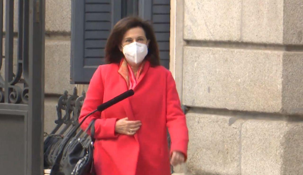 Margarita Robles recibe hoy la vacuna contra el coronavirus de AstraZeneca en el Wanda Metropolitano