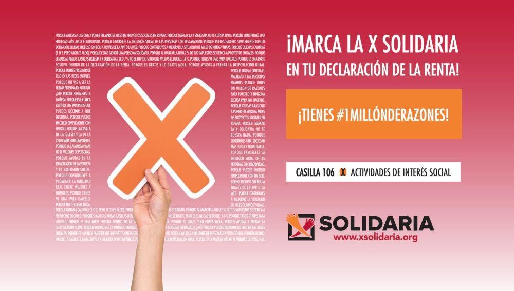Marca la 'X Solidaria' en la declaración de la Renta