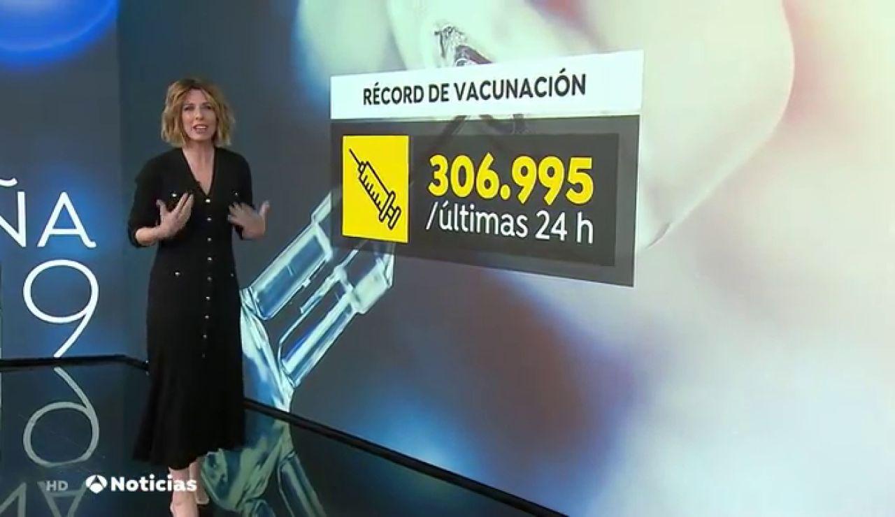 España bate su récord de vacunación contra el coronavirus con más de 306.000 dosis administradas en un día