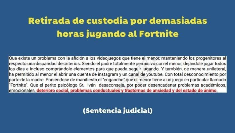 Sentencia judicial Fornite