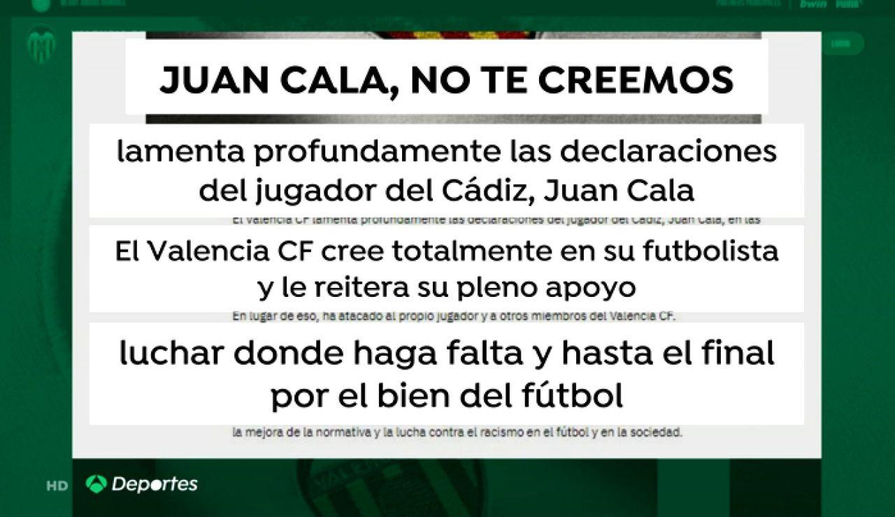 """La respuesta del Valencia a Juan Cala: """"No te creemos"""""""