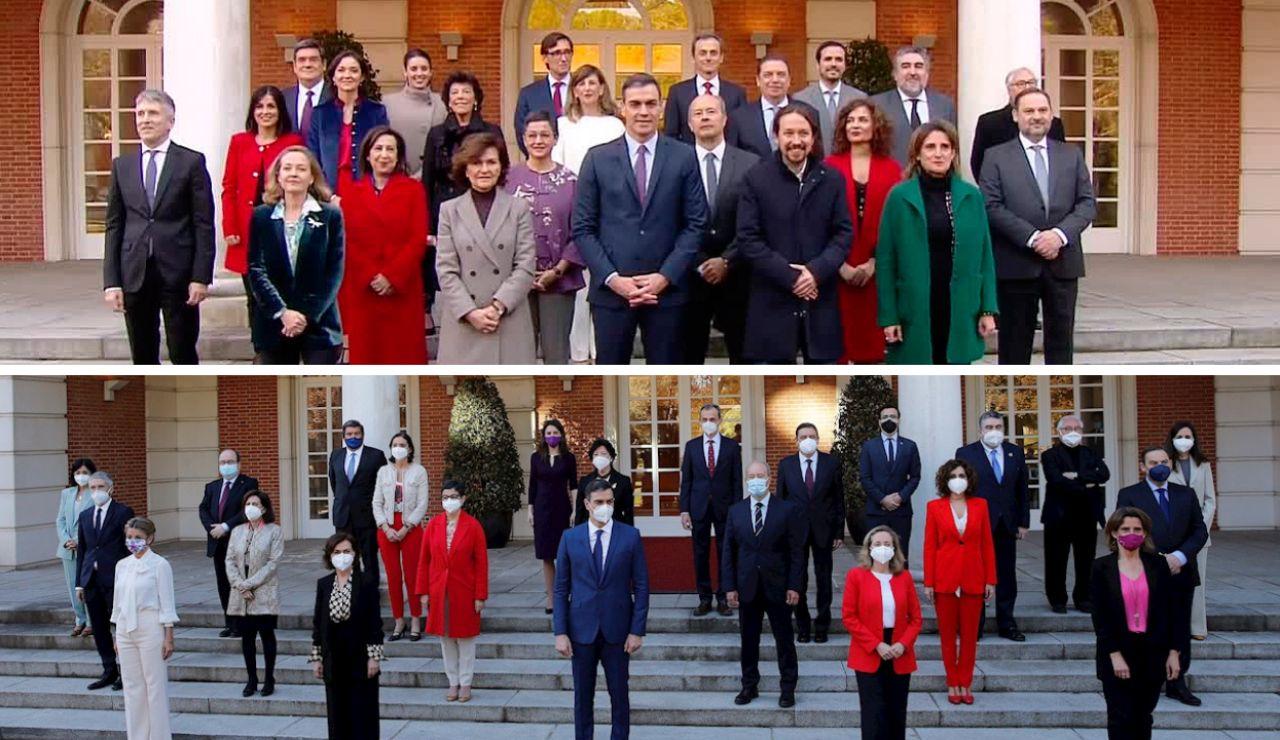 Ausencias y nuevas caras entre las dos fotos de Gobierno realizadas en poco más de 1 año