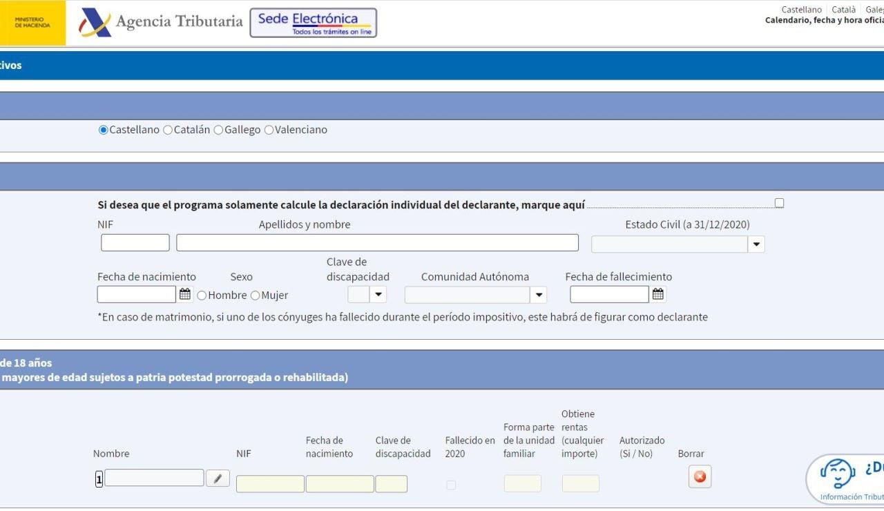 Simulador Renta Web Open 2021, en la página de la Agencia Tributaria
