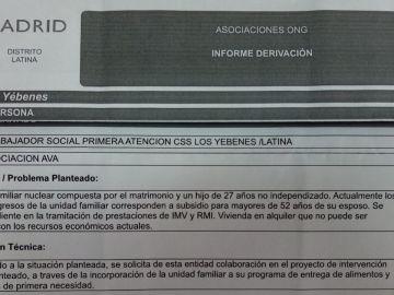 La carta que ha recibido una de las familias que este martes ha sido derivada a la Asociación Vecinal de Aluche