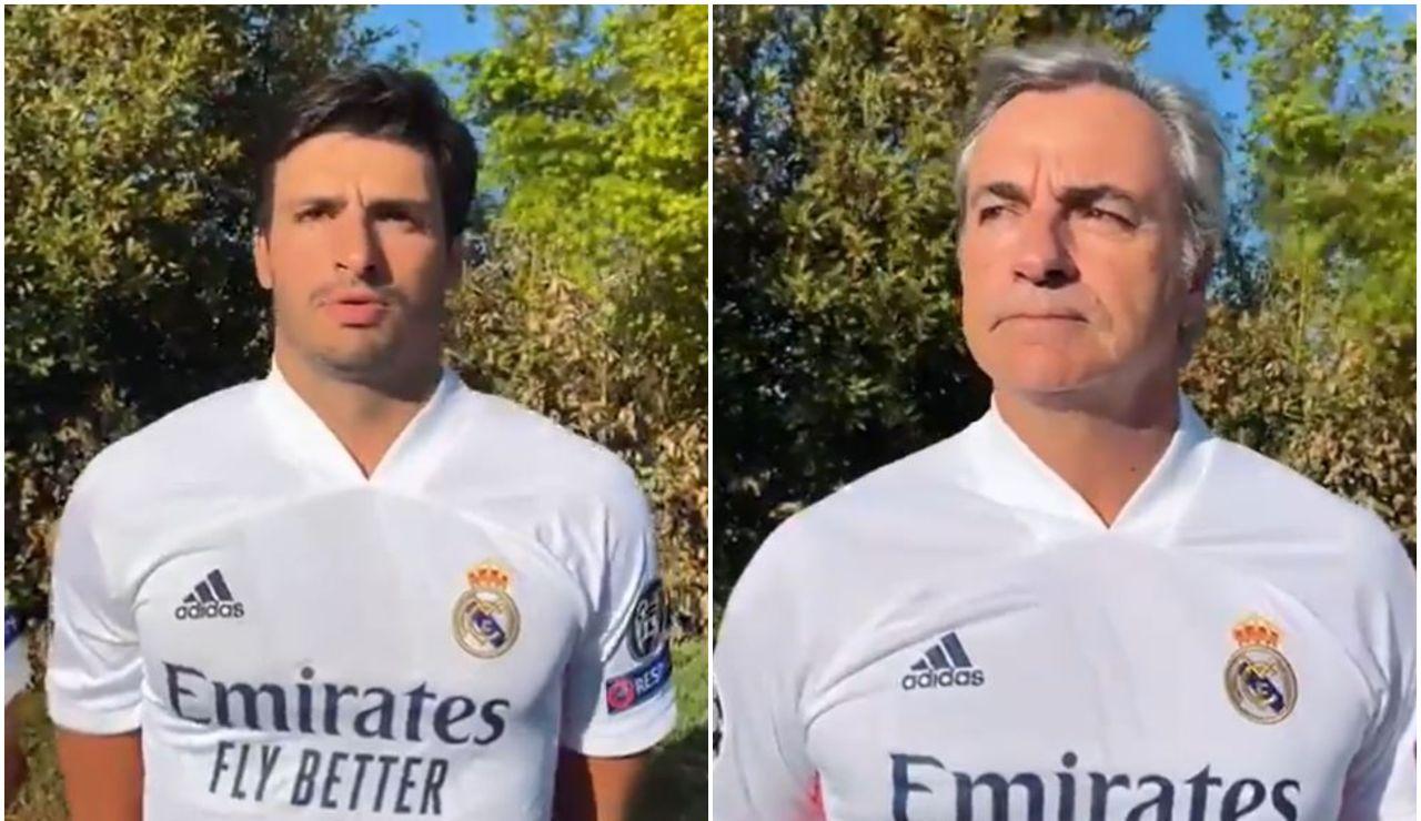 La peculiar forma de Carlos Sainz y Carlos Sainz Jr de animar al Real Madrid en la Champions