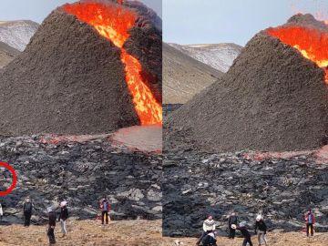 Jugando voleibol junto a un volcán