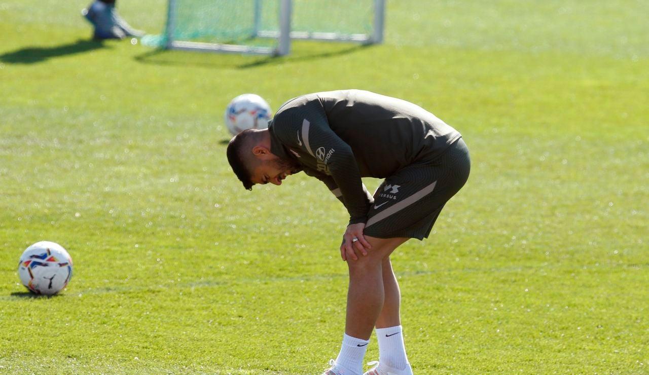 Luis Suárez, en un entrenamiento del Atlético