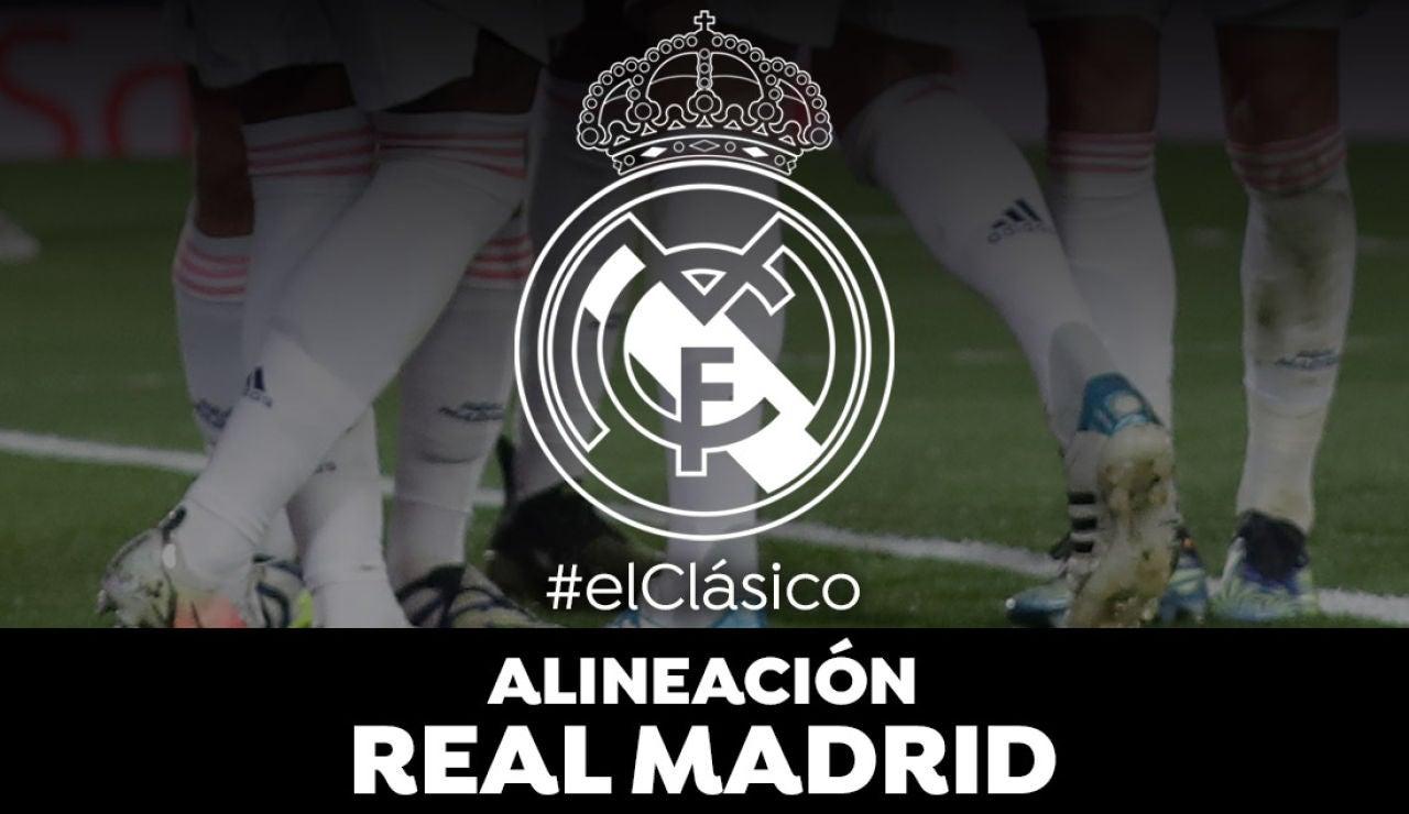 Alineación del Real Madrid en el clásico frente al Barcelona de la Liga Santander
