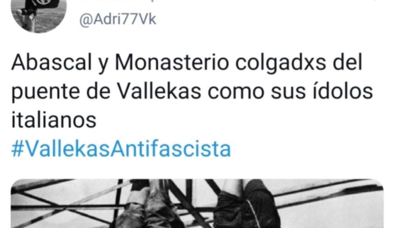 Tweet denunciado por comparar a Abascal y Monasterio con Mussolini