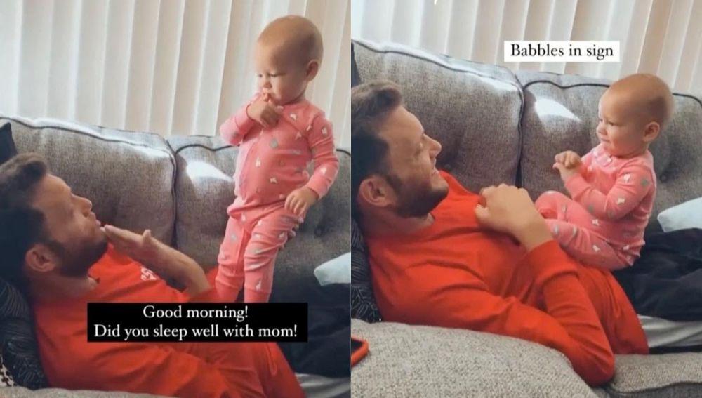 Bebé hablando en signos