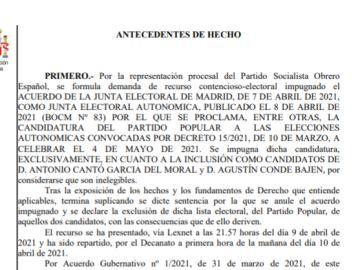 Consulta la sentencia por la que Toni Cantó y Agustín Conde han quedado fuera de la lista del PP en las elecciones de Madrid
