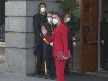 La Reina Letizia a su llegada al Congreso