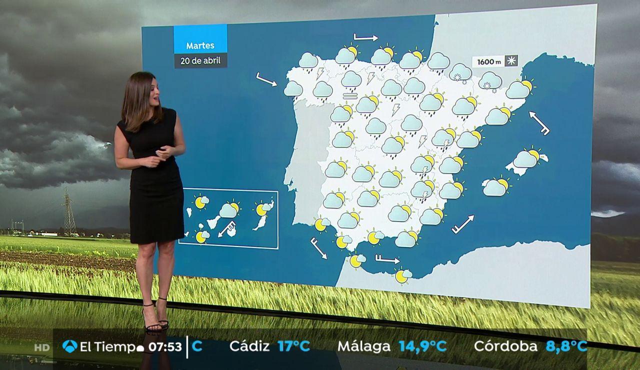 La previsión del tiempo hoy: Lluvias fuertes en entorno montañoso de Galicia, Cantábrico occidental, sistema Ibérico y comunidad Valenciana