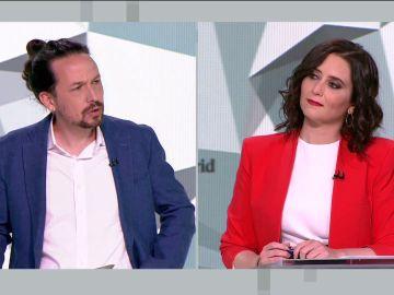 Pablo Iglesias e Isabel Díaz Ayuso durante un debate electoral